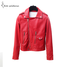 Zoe Saldana 2018 Autumn Winter Red Leather Jacket Women Motorcycle Biker Coats Zipper Turn-down Collar Short Slim Jackets(China)