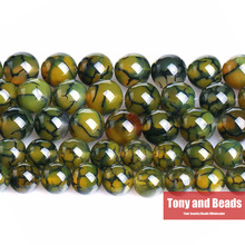 "Free Shipping 15"" Natural Stone Green Dragon Vein Agata Round Loose Beads 6 8 10 12MM Pick Size For Jewelry Making AB13"