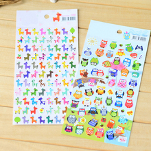 5 sheet Children Cute Owl Giraffe Reward Stickers School Teacher Merit Praise Sticky Class Paper Lable Kids Classic Toys(China)