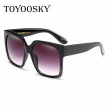 TOYOOSKY Sun glasses for women's oversized square brand original make hand diamond Rhinestones women sunglasses uv400(China)