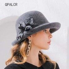 075b56ddc9320 QPALCR sombreros de lana de invierno sombreros para las mujeres elegante  Formal hembra sombrero de fieltro