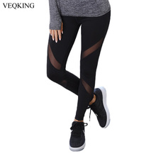 VEQKING Black Mesh Patchwork Sport Pants,Women Yoga Running Tights,Ladies Gym Sportwear Breathable Quick Dry Fitness Leggings(China)