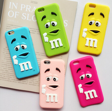New style Soft silicone cute M&M Chocolate colorful Rainbow Beans phone case cartoon cover phone case for iphone 6 plus 5.5 inch