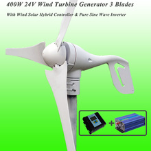 Hot Selling 3 Blades 400W 24V Wind Turbine Generator With PWM Wind Solar Hybrid Controller & 1KW Pure Sine Wave Inverter
