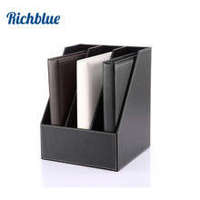 3 Slot Wood Leather Desk File Document Holder Tray Box Cubbyhole Pigeonhole Organizer Rack