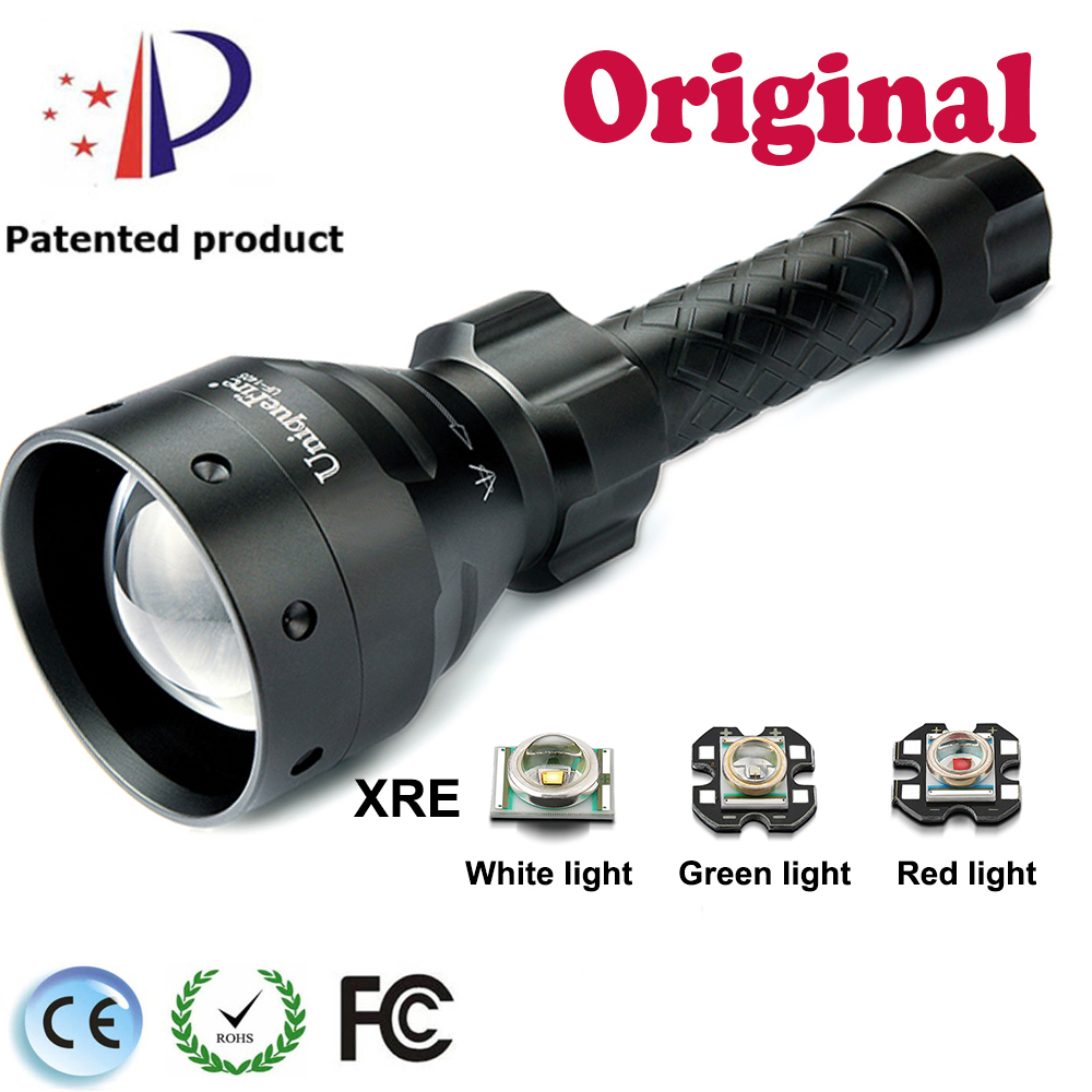 UniqueFire 3 Modes UF-1405 XRE Portable Zoomable Torch Black Led flashlight with Green / Red / White Light For Camping<br>