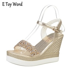 shinning glitter silver gold platform high heels wedges women sandals 2017 summer ladies open toe casual shoes pumps(China)