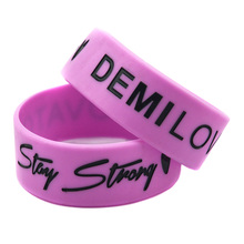 "Promo Gift 25PCS/Lot 1"" Wide Band Demi Lovato Stay Strong with Love Silicone Bracelet Wristband(China)"
