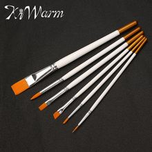 KiWarm 6pcs/lot Multifunction White Nylon Wood Paint Brush Set Artists Acrylic Watercolor Painting Brush Round Flat Tip Drawing