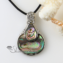 oval teardrop rainbow abalone oyster shell rhinestone necklaces pendants 2013 handmade fashion jewelry