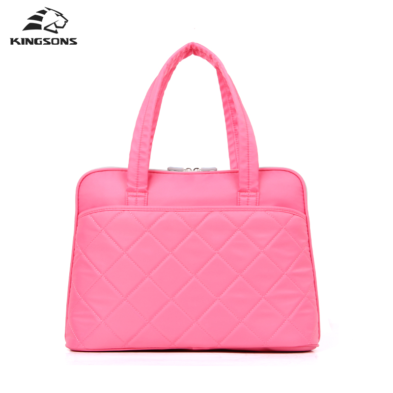 Kingsons Women Handbags Pink Waterproof 14.1 Inch Laptop Totes Ladies Shoulder Messenger Bag Ladies Girls Cases<br>