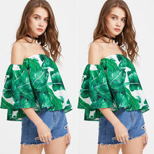 Buy New Arrivals 2017 Women Sexy Shoulder 1/2 Sleeve Printed Blouses Shirts Summer BOHO Fashion Loose Blouses for $4.72 in AliExpress store