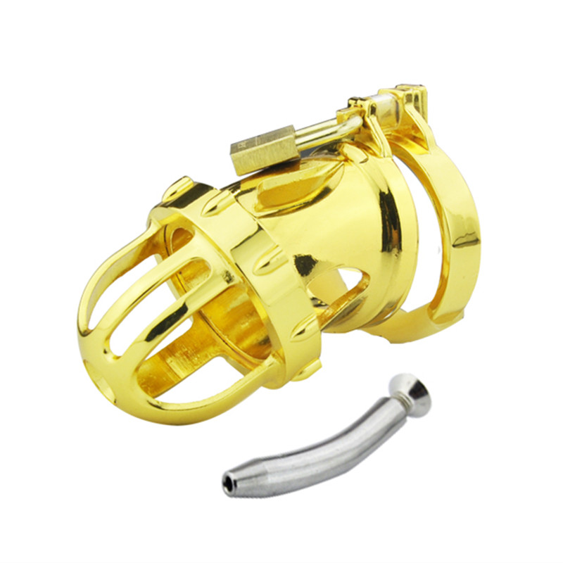 24k Gold Plating Male Chastity Cock Cage Penis Ring with Urethral Catheter Mens Virginity Lock Chastity Cock Ring for Men G164<br>