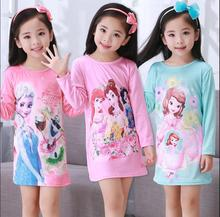 Free Shipping Girls Nightgown children clothing Knitting cotton long sleeved pajamas dress Cute kids Homewear Nightdress DNS05