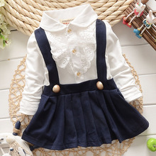 New Arrive 2018 Baby Grils Dress Long Sleeve Braces Cotton Cute Mini Above Knee Princess Casual girl dress(China)