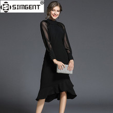 Buy Simgent Women Party Dress Raglan Sleeve Button Stand Collar Elegant Office Bodycon Mermaid Dress Jurken Woman Clothes SG712214 for $22.34 in AliExpress store