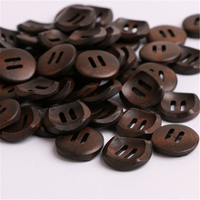 2 Holes Dark Brown Wooden Buttons 20mm Round 50pcs For Children Boy Coats Decorations Acessorios For Costura Sewing Handmade Diy