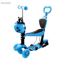 Ancheer new Kick Scooter Child Kids 3-Wheel Adjustable Height Kick Scooter with LED Light Up Wheels kids skateboard(China)