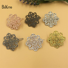 BoYuTe 10Pcs 42MM Filigree Flower Hair Clips Pins 6 Colors Plated Vintage Women Hair Decoration Accesories