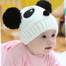 1PC Fashion Baby Girls Boys Hats Warm Winter Chinese Panda Style Knit Wool Kids Caps For Children Clothes Accessories Krystal