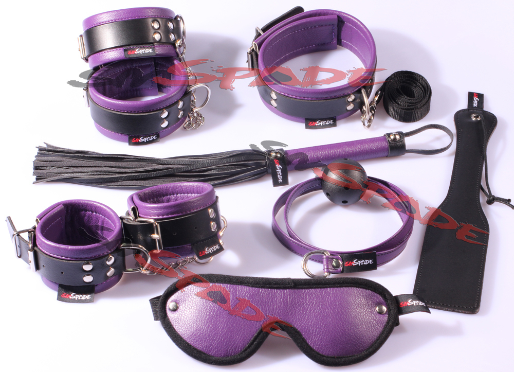 Restraint kit 7 pcs/set: hand cuffs, ankle cuffs, leather whip/flogger, collar, gag, clapper Sex toys for couple bedroom fun<br>
