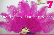 EMS Free Shipping Big Dance Ostrich Feather Fan for Belly Dance Halloween Party Ornament Decor Necessary 12 Bones Fan(China)