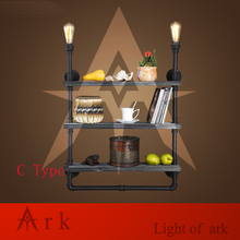 ark light  Industry Loft RH Creative Retro Bookshelf Wall Lamps Water Pipe with Wood Shelf for Cafe Restaurant Decoration-C TYPE