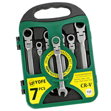 HHTL-YOFE 7pcs/set 8-19 fine polished active head dual-use ratchet fast wrench 180 degree rotation green