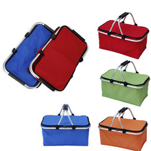 Folding Picnic Camping Shopping Basket Insulated Cooler Cool Hamper Zip Hand Bag Waterproof Bags TB Sale(China)