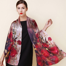 2016 winter high quality 100% real silk Scarf Shawl wrap hijab women female fashion Scarves classic red rose pattern 175*52cm