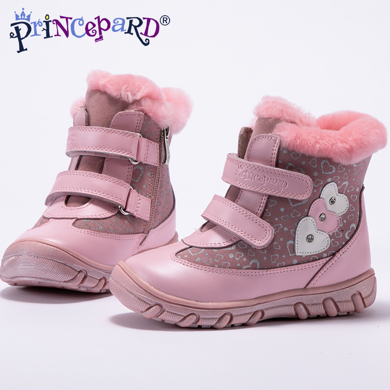 Princepard 2018 new winter orthopedic boots for girls pink patter children's orthopedic shoes for kids 22-28 size