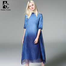 spring summer runway designer womans dresses green blue red gradient color silk blends dress over knee calf length casual dress