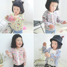 The 2017 explosion models for boys and girls watermelon stripes hooded cardigan jacket thin baby sunscreen clothing for children