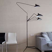 Replica Duckbill Serge Mouille floor lamp 3 Arms White/Black. Nordic industrial loft standing lamp home office lighting(China)