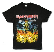 Newest 2017 Fashion  O-Neck Short Sleeve Iron Maiden Holy Smoke Black New Official Music Heavy Metal Music Broadcloth T Sh