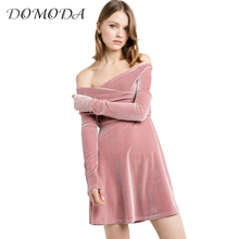 Buy DOMODA 2017 Cross V Neck Streetwear A-line Dress Soild Pink Velvet Dress Women Clothing Spring Elegant Slim Casual Dress Female for $11.18 in AliExpress store