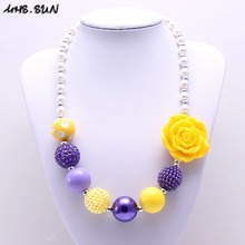 MHS.SUN 1PC Purple+Yellow Color Kid Chunky Necklace Newest Rose Flower Girl Children Bubblegum Chunky Bead Necklace Kid Jewelry(China)