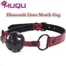 Hot Leather Diamonds Lines Mouth Gag fetish red Adjustable Size mouth stuffed ball gag Adult Sex Toys For Couple Sex Products(China)