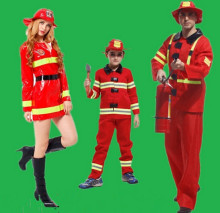 Hot Halloween cosplay costumes adult fireman clothing woman Performance clothes Police uniform house party Parent child clothing