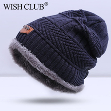WISH CLUB Autumn Men Winter Hat Boy's Warm Baggy Hat Men Cotton Cap Women Hat Thick Bonnet Skullies Beanie Soft Knitted Beanies