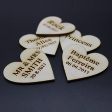 100pcs 3.5*3.5cm Personalised Engraved Wooden Love Heart Wedding Tag Table Centerpieces Hole Best Parents Birthday Present Favor(China)