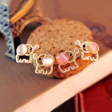 FAMSHIN 2016 Hot Lovely cute babies Elephant opal earrings stud earrings for women themselves well, party(China)