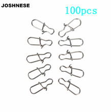 100PCS 00#/0#/1#/2#/4#/5#/6# Size Safety Snaps Fishing Swivel Hook Connector Stainless Steel Hook Lock Snap Swivels Solid Rings(China)
