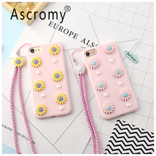 Ascromy 3D Sunflower Pearl Soft TPU Protective Back Case Cover with Neck Strap Lanyard For IPhone 7 Plus 6 6S Mobile Accessories