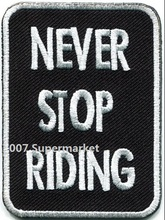 Knuckle Rings Never Stop Riding biker slogan motorcycle MC biker emo punk rockabilly applique iron on patch Wholesale(China)
