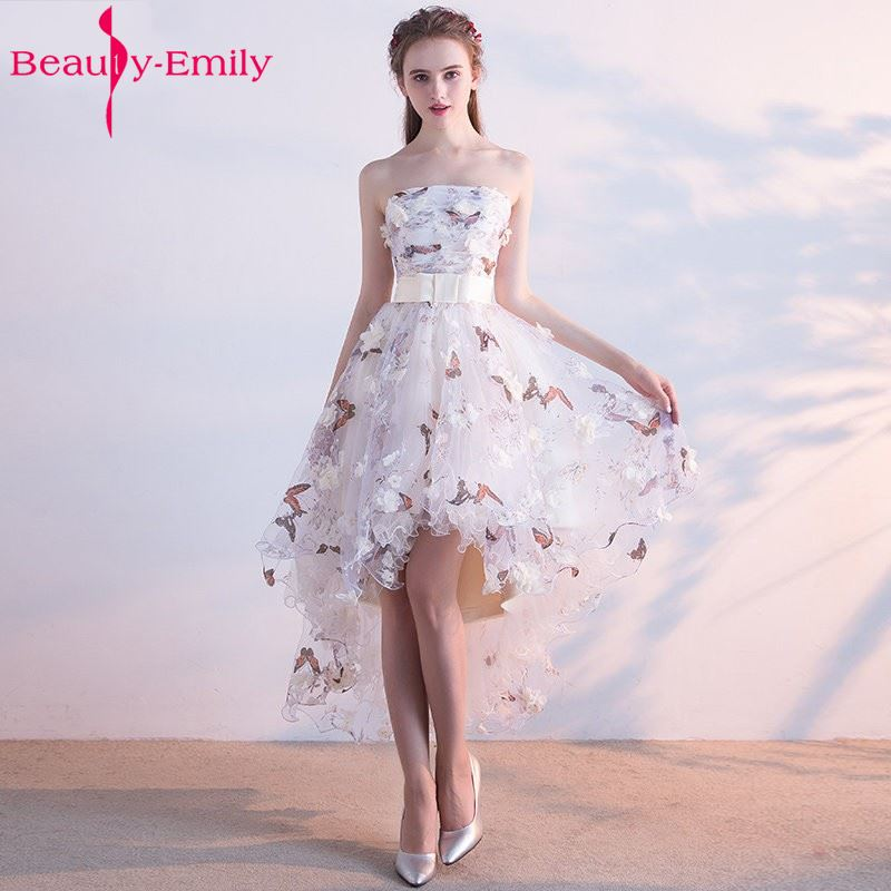 Beauty Emily  Strapless Pleat Lace Up High-low Asymmetry Vintage Elegant Flowers Evening Dresses Dancing Party Prom Dresses(China)