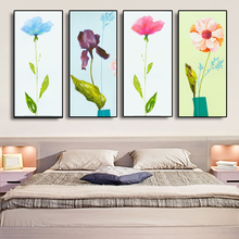Flower Wall Art Canvas Prints 4 Panel Abstract Color Floral Wall Picture Abstract Watercolor Painting Home Room Decor Framed No