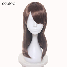 ccutoo 50cm Light Brown Medium Oblique Fringe Synthetic Hair high Temperature Elastic Lace Cosplay Full Wigs Peluca Party Wigs