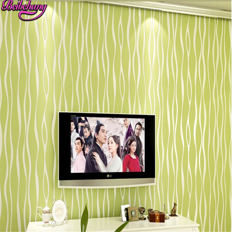 beibehang papel de parede Modern simple plain vertical striped wave pattern wallpaper green warm living room bedroom non woven<br>