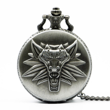 Hot Game Witcher 3 Quartz Pocket Watch Awesome Roaring Wolf Head Necklace Pendant Chain Christmas Gifts(China)